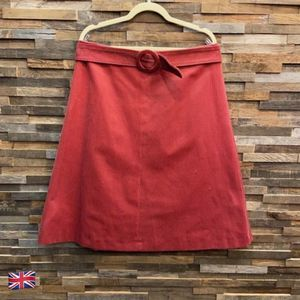 Madeleine Pink/Red Corduroy Belted A-Line Skirt